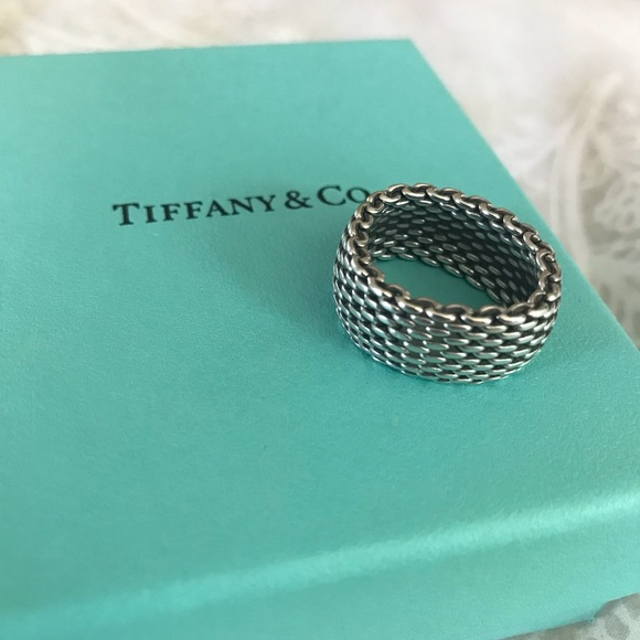 47ead15944dc0 Tiffany & Co. 925 Silver Somerset Mesh Ring SIZE 7